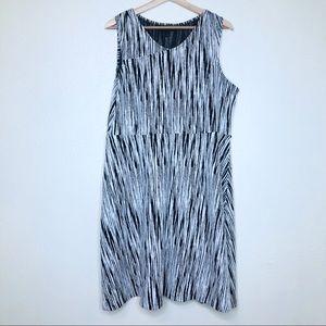 Lane Bryant Black & White Printed Sleeveless Dress